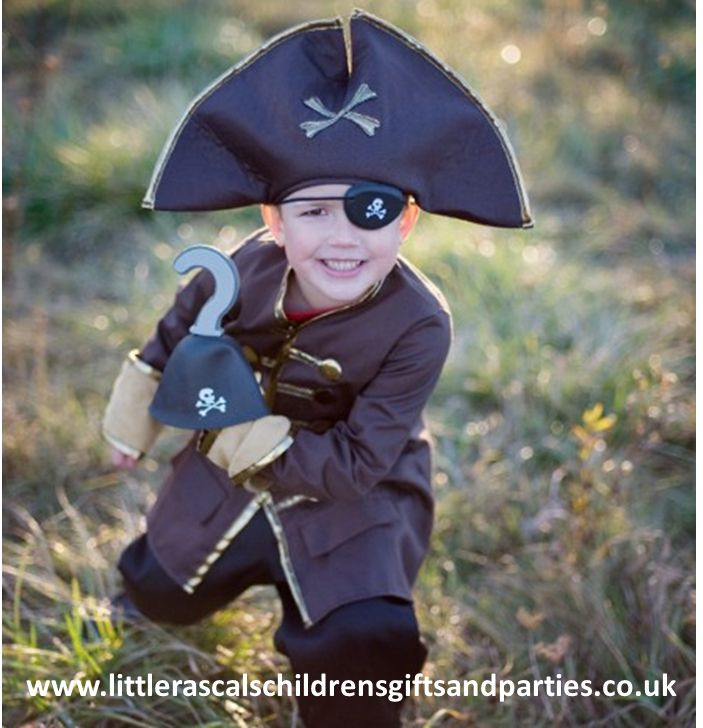Every little boy will love dressing up as the infamous Captain Hook and terrorising the neighbourhood...  Size M (4-6 years) - £30.00 http://www.littlerascalschildrensgiftsandparties.co.uk/#!pirate-fancy-dress-costumes/cej1