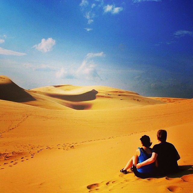 Taking time out on the golden sand dunes of Mui Ne, Vietnam. Taken from our article 'Mui Ne Beach & The Fairy Springs Of Vietnam!'