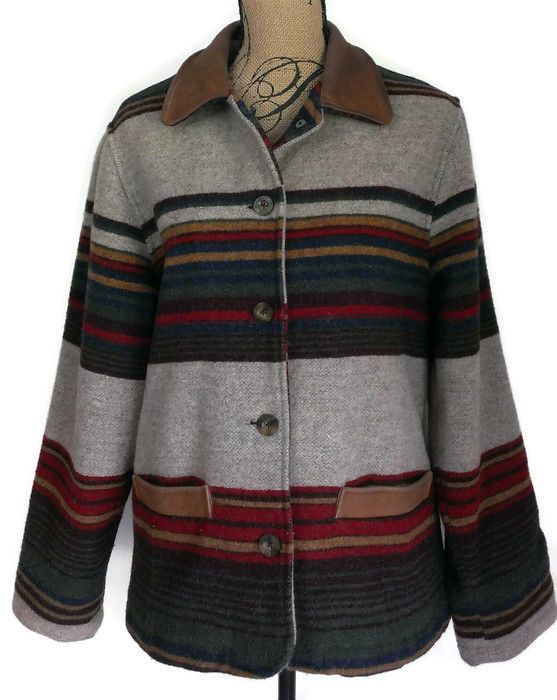 Woolrich Women's Wool Indian Blanket Striped Barn Jacket Coat Sz M Leather Trim  #Woolrich #BasicJacket