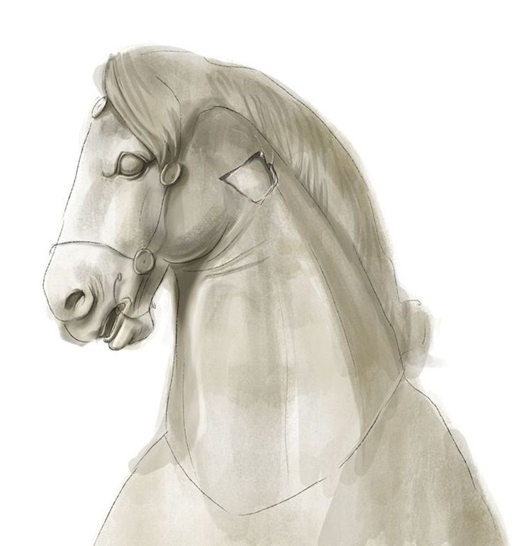 Anežka Bauer Hájková ... concept art for @notreal_virtual  #conceptart #statue #sculpture #antique #ancientgreece #sevenwonders #digitalpainting #sketch #photoshop #showyourwork #horse #chariot #illustration #illo #illustratorsoninstagram #czechillustrators #prague #art #vaporwave #pale #marble #painting