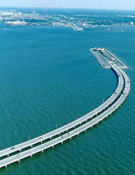 Bridge between Sweden & Denmark. Tunnel goes under water. That would be a little scary.
