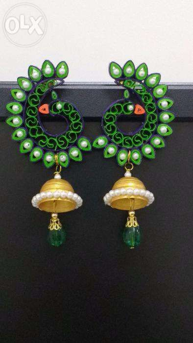 Archive: Handmade quilled peacock earrings - Panaji - Accessories