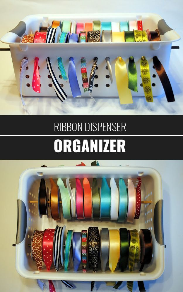 DIY Craft Room Ideas and Craft Room Organization Projects -  Ribbon Dispenser and Organizer  - Cool Ideas for Do It Yourself Craft Storage - fabric, paper, pens, creative tools, crafts supplies and sewing notions |   diyjoy.com/...