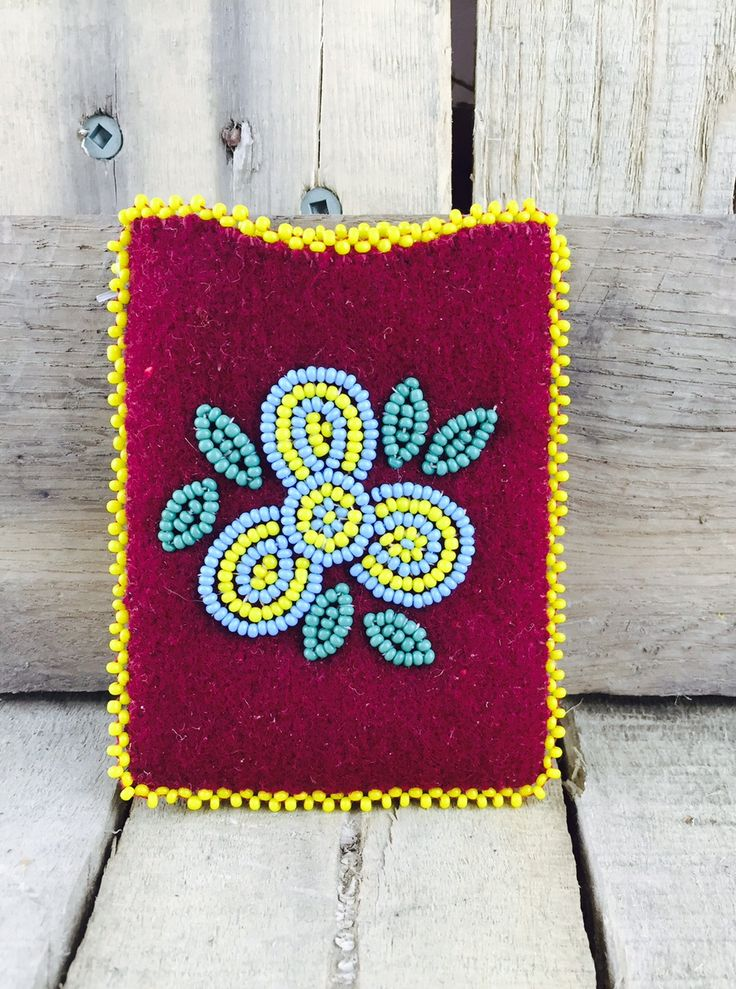 Cardholder with red stroud and blue and yellow beadwork #Esawa #Handmade #Cardholder #Beadwork