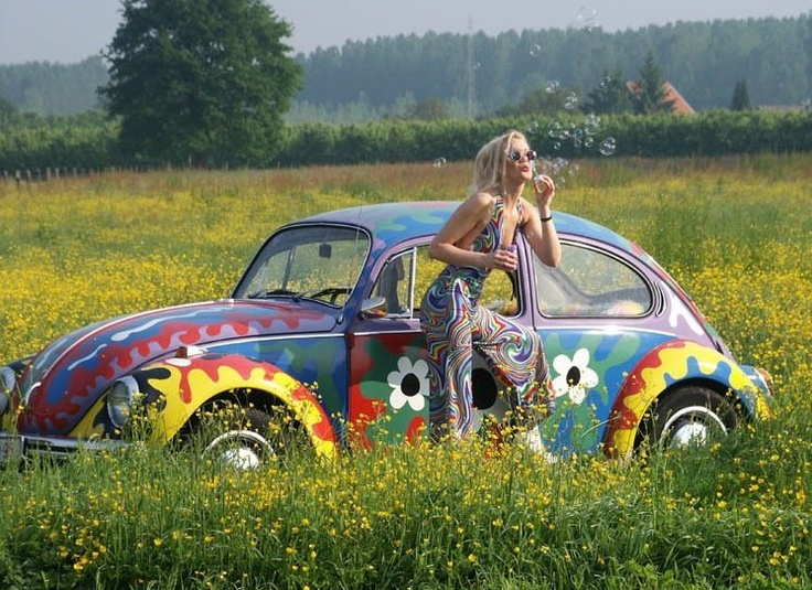 Flowerpower girl vw volkswagen kever beetle summertime