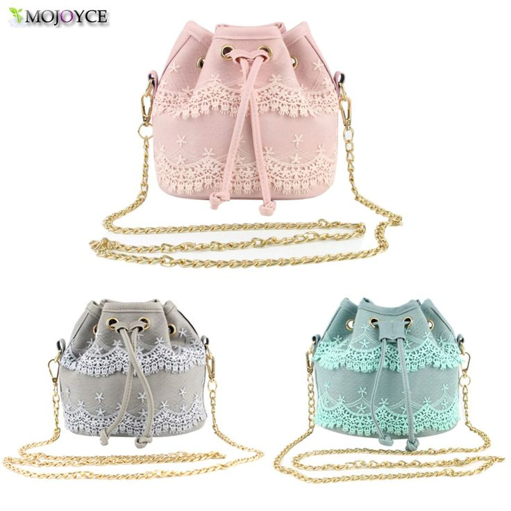 lace sweet lady bucket bag pu leather women bag Korean Lace fashion chain bag shoulder messenger bag-Best gift for girls friends