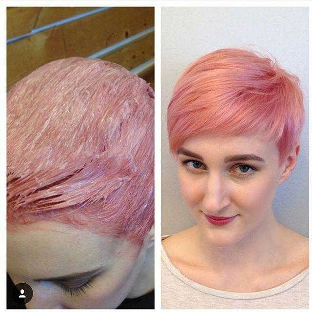chic kurzen rosa Pixie Cut für feine dünne Haare