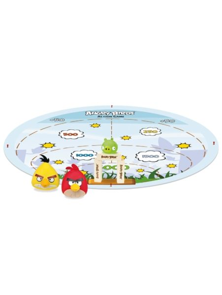 Angry Birds Action Game. Tactic tuo nyt tutun pelin sinun pihallesi! Peli on pakattu hauskaan säkkiin, joka avautuessaan muodostaa pelialustan. Pakkauksessa on tarvikkeet oman Angry Birds -pelimaailman luomiseen, mm. sika ja puupalikoita. Peliä voi pelata sisällä tai ulkona, ja siihen tarvitaan vähintään kaksi pelaajaa. Anna possulle kyytiä!