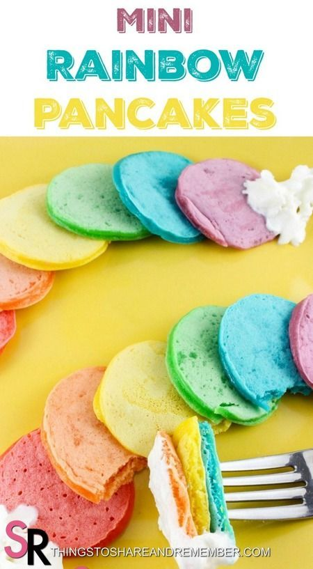 Mini Rainbow Pancakes >> Mini Rainbow Pancakes are a breakfast idea that's sure to be a hit! It's easy too, just takes a few minutes to divide the batter and mix in coloring. Use gel food colors for more vibrant colors. Fun idea for snow days, St. Patrick
