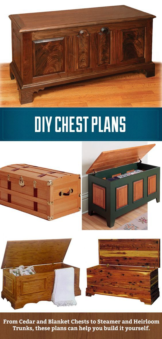 DIY Chest Plans, from cedar and blanket chests to heirloom and steamer trunks. These plans can help guide you through the process of making a unique heirloom. #woodworking
