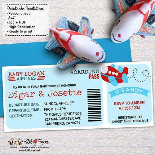 Airplane Aviator Baby Shower Theme Printable DIY Invitation- Personalized Invite…
