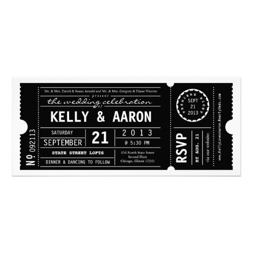 Vintage Playbill Theater Ticket Wedding Invitation - the golden ticket in my candy bar (Willy Wonka)