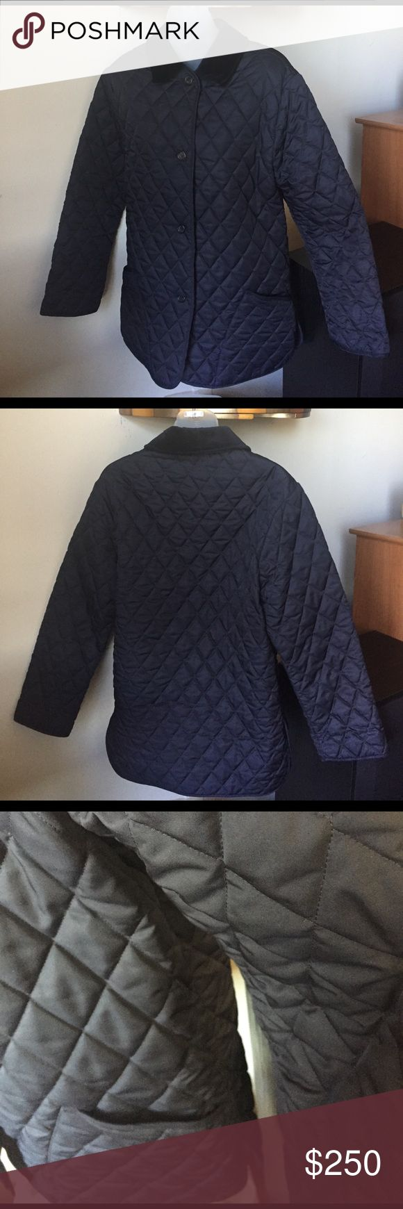 Burberry Quilted Jacket Men's Burberry London Quilted jacket with velvet/cord collar. Side slit and pockets. One small inside pocket. One button is broken as shown in photo. In good used condition. Burberry Jackets & Coats Lightweight & Shirt Jackets