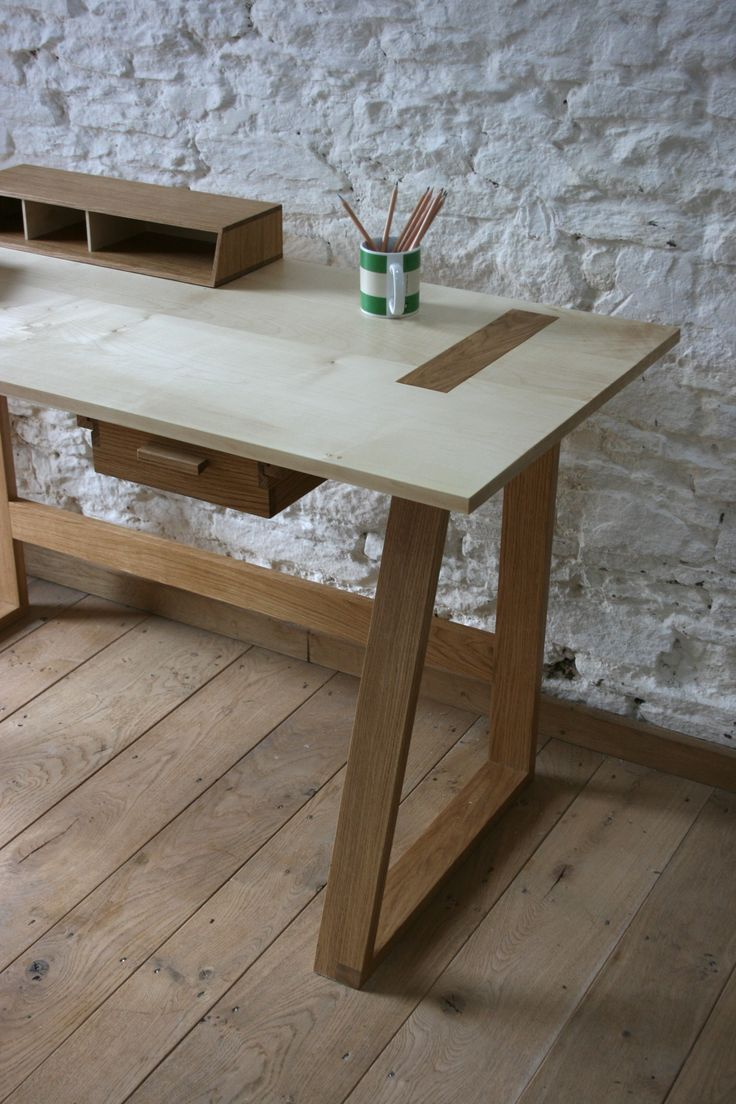 Frame Desk made from Oak and Sycamore by Barnby & Day.