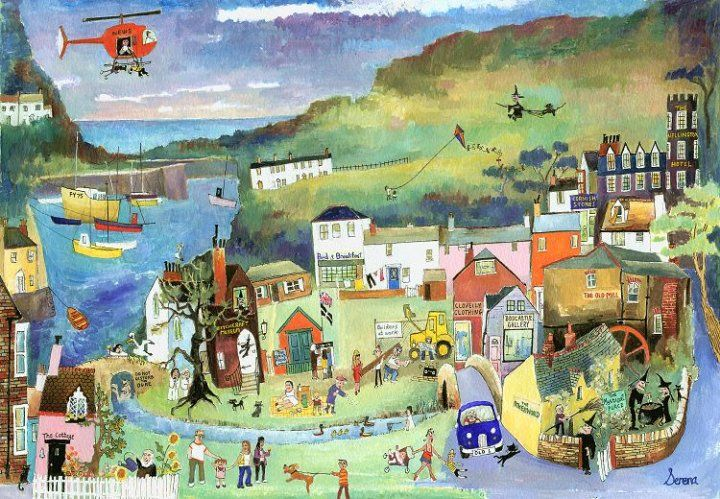 Boscastle on a Sunny Day (S15) - Prints - Serena - Cornwall Art Galleries
