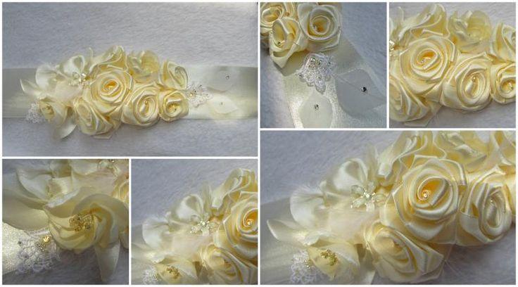 Ekrü rózsás díszöv swarovskival díszítve (S)