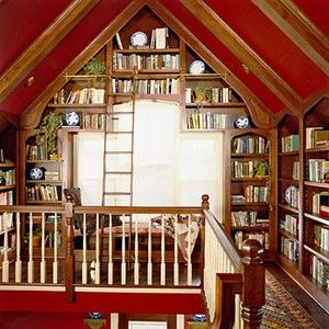 Having the library as a loft above the stairs is a great idea!!