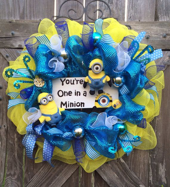 Minion Party, Despicable Me Party, Everyday Wreath, All Season Wreath, Minion Decor, One in a Minion on Etsy, $117.00