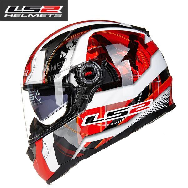 LS2 стекловолокна волокна мотоцикл шлем двойной линзы шлем полный-лицо шлем с регулировкой Подушка безопасности шлем