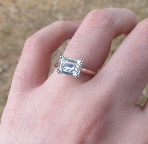e739fd4ffc622 East West Engagement Ring, East West Emerald Cut Ring Setting ...