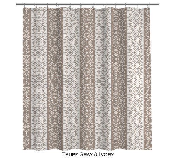 Bathroom Shower Curtain Taupe Ivory Ethnic Moroccan Bath Curtain Taupe