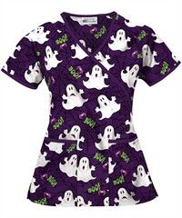 ua womens scarified eggplant mock wrap scrub top - Halloween Scrubs Uniforms
