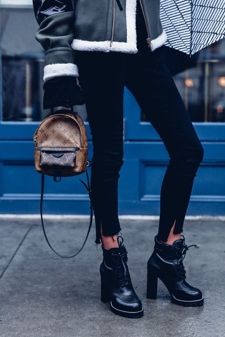 Louis Vuitton Palm Springs mini backpack & digital gate ankle boots
