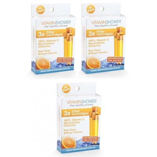 3 X Pack of 3 Vitamin C Shower Filter Cartridges - Water Filter Direct Australia