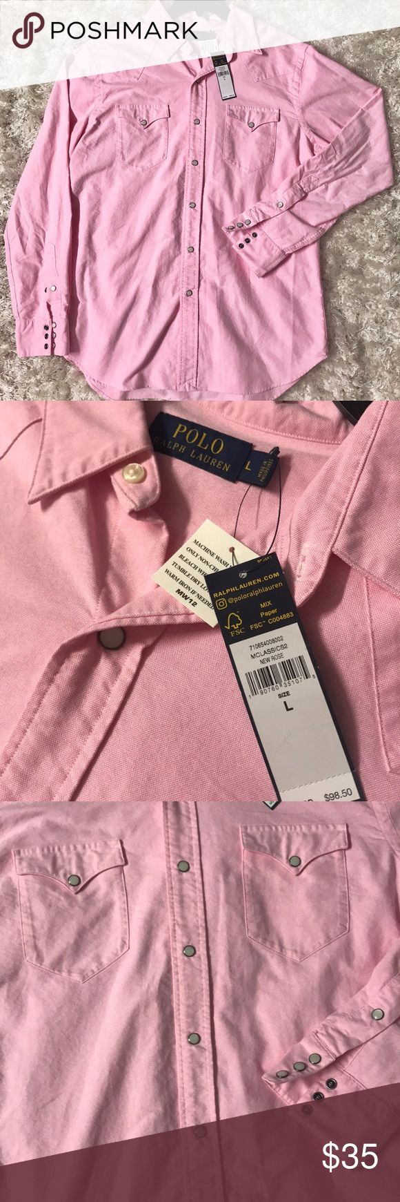 Ralph Lauren western style sport shirt Polo Ralph Lauren pink men's shirt. Size L. New with tags Polo by Ralph Lauren Shirts Casual Button Down Shirts