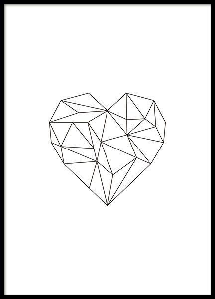 Mooie posters met zwart hartje in geometrische vorm dat mooi bij alle interieurstijlen past. Match deze poster met onze andere geometrische posters.  De prijs is alleen voor de poster. www.desenio.nl