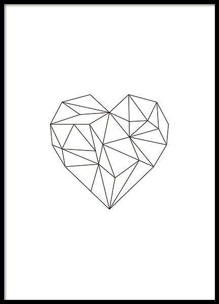 Tolles Poster mit einem schwarzen Herzen in geometrischer Form, das in allen Einrichtungsstilen eine gute Figur macht. Es kann leicht mit unseren anderen Postern mit geometrischen Formen kombiniert werden. www.desenio.de