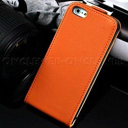 Étui iPhone 5s cuir orange Rancho sur www.etui-iphone.com