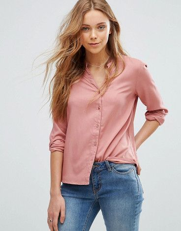 On SALE at 29% OFF! Grandad Collar Shirt by Vero Moda. Shirt by Vero Moda, Smooth woven fabric, V-neck with collar detail, Button placket, Embroidered back design, Regular ...
