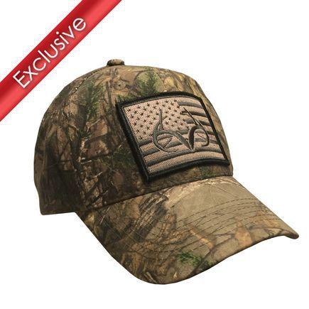 Exclusive Realtree Xtra American Flag Antler Patch Hat