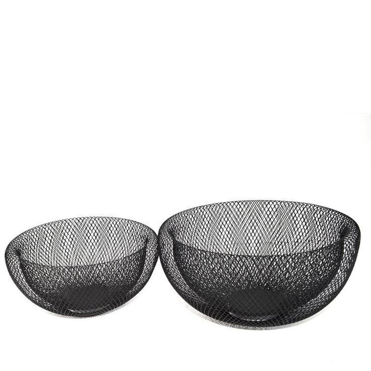 S/2 Black Double Folded Mesh Bowls