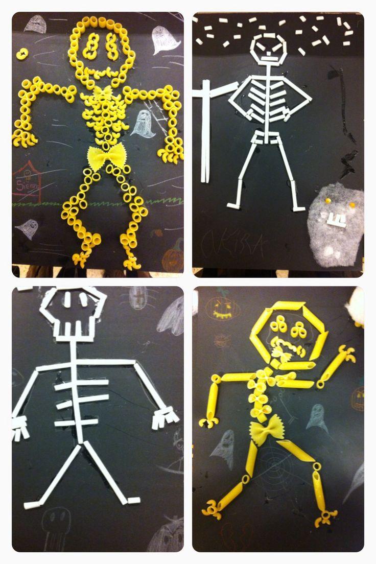 Halloween skeletten van macaroni en rietjes | basisschool knutsel | groep 6 | thema Halloween |