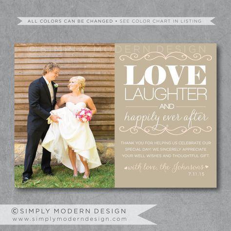 modern wedding thank you card unique thank by SimplyModernDesignx