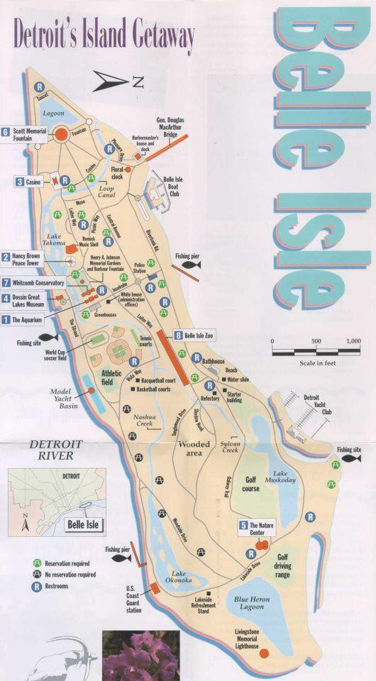 Belle Isle Detroit Map  Detroit Maps  Pinterest