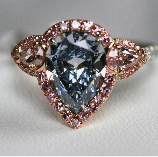 Fancy blue diamond and rose gold ring. ~ 35 Gorgeous Diamonds - Style Estate -