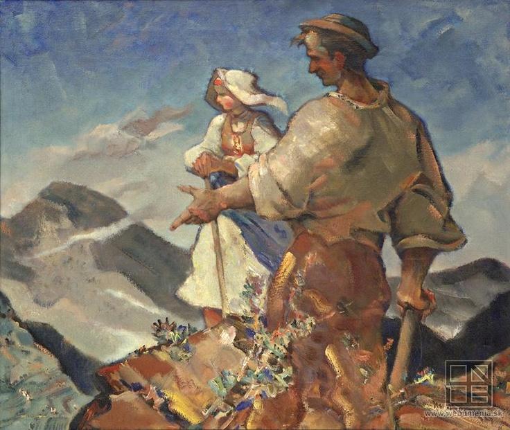 Slovak painter Martin Benka: People and mountains, 1941