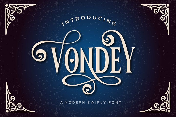 Vondey is a display font with more than 220 alternates and a Bonus  Ornament font with lots of swirls and decorations, perfect for the  Holidays. #ad.