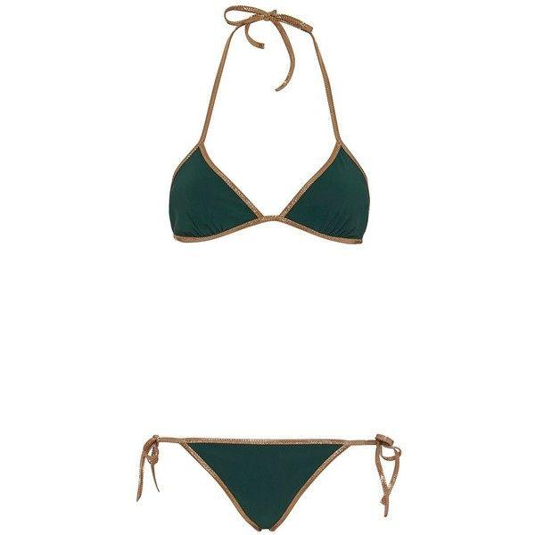 Tooshie Women's Hampton Reversible Triangle Bikini (675 BRL) ❤ liked on Polyvore featuring swimwear, bikinis, bikini, swim, swimsuits, multi, olive green bikini, olive green swimsuit, swimming costume and triangle bikinis