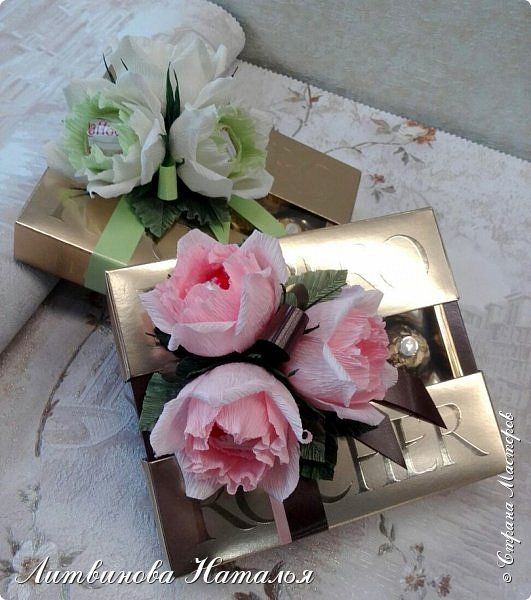 """Украсила коробки """" Ferrero Rocher""""  125гр розами из  зшт """"Raffaello"""" фото 11"""