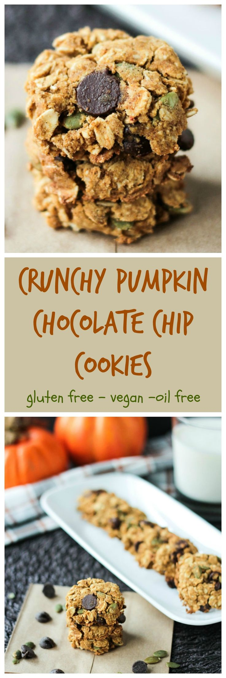 Crunchy Gluten Free Pumpkin Chocolate Chip Cookies - These #healthy #cookies are so deliciously addictive! I dare you to eat just one! #refinedsugarfree #glutenfree #oilfree #dairyfree #vegan #pumpkin #chocolatechips