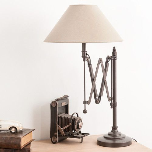 Lampe de chevet accord on en m tal et abat jour en coton h for Maison du monde reims