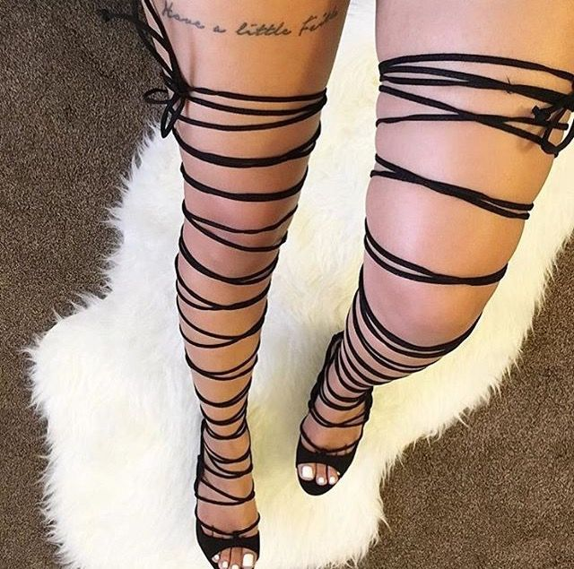 Thigh High Lace Up Heels