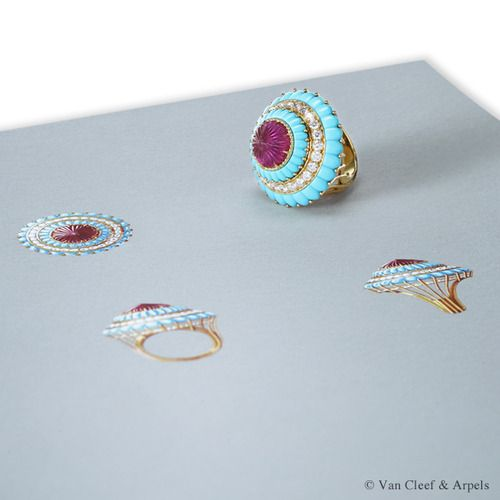 Gouache drawing of Van Cleef & Arpels Camaieu de Bleus ring, Pierres de Caractères Variations collection Yellow gold, round diamonds, carved rubellite and turquoise