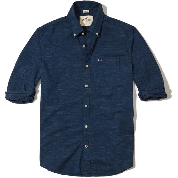 Hollister Stretch Poplin Shirt ($25) ❤ liked on Polyvore featuring men's fashion, men's clothing, men's shirts, men's casual shirts, heather navy, mens tailored shirts, mens slim fit casual shirts, men's classic fit dress shirts, mens button front shirts and mens slim shirts