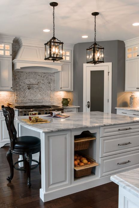 Interior Use Of Oyster Pearl Thin Clad Brick Pine Hall Brick On Back Splash In Kitchen