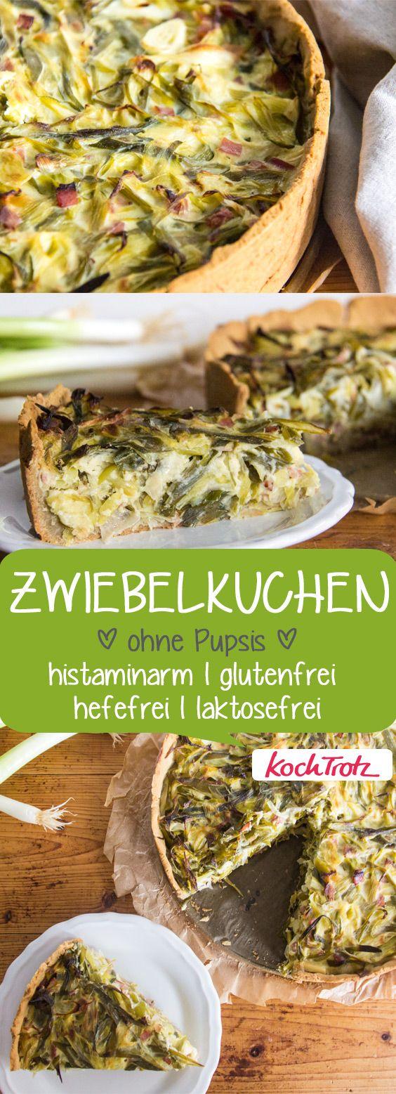 Dieser Zwiebelkuchen ist sehr gut verträglich und schmeckt super lecker | glutenfrei | hefefrei | laktosefrei | histaminarm #zwiebelkuchen